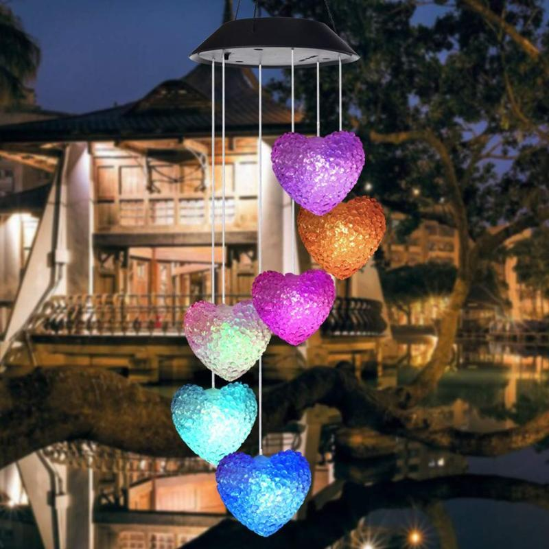 Solar Powered Wind Chime Light LED Garden Hanging Spinner Lamp Color Outdoor Decorative Girl Room Romantic Hangs Decor Party Decoration