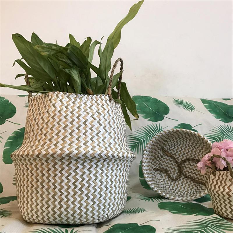 Faltbare handgefertigte Seegrass Lagerkorb Wicker Rattan Bauch Straw Home Garten Blume Topf Wave Muster Pflanzer Wäschekörbe