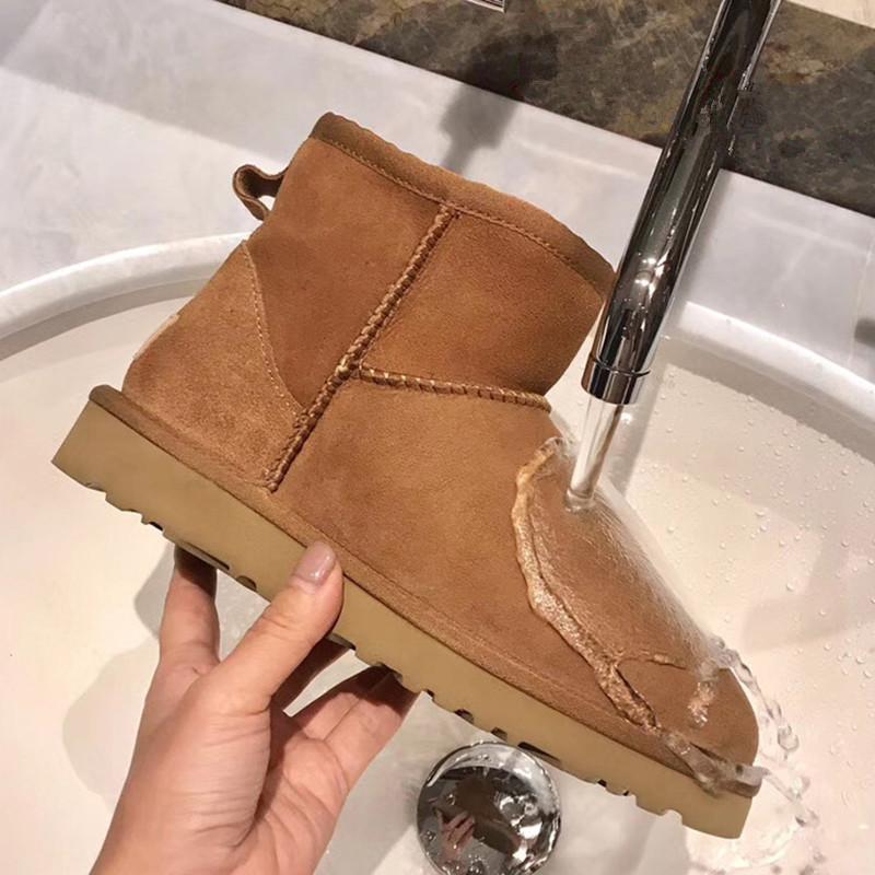 Boots Snow Women Waterproof Australia Winter Worm Shoes Non-slip Rubber Sole 100% Genuine Cowhide Leather Big Size