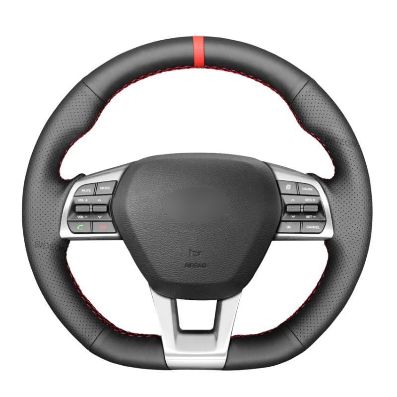 Rueda de dirección Cubiertas Black PU Cuero artificial trenzado para Sonata 9 2021 2021-2021 Forma D de 3 radios