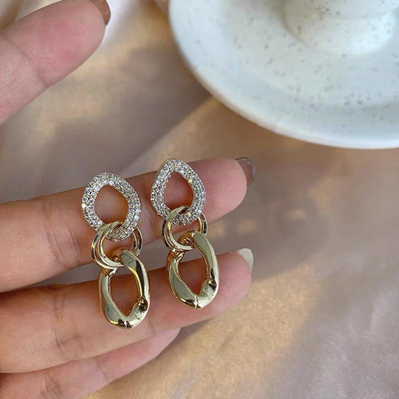 Boucles d'oreilles à chaîne en argent sterling de haute qualité 925 pour femmes Golden Geometric Design 2021 Tendance bijoux