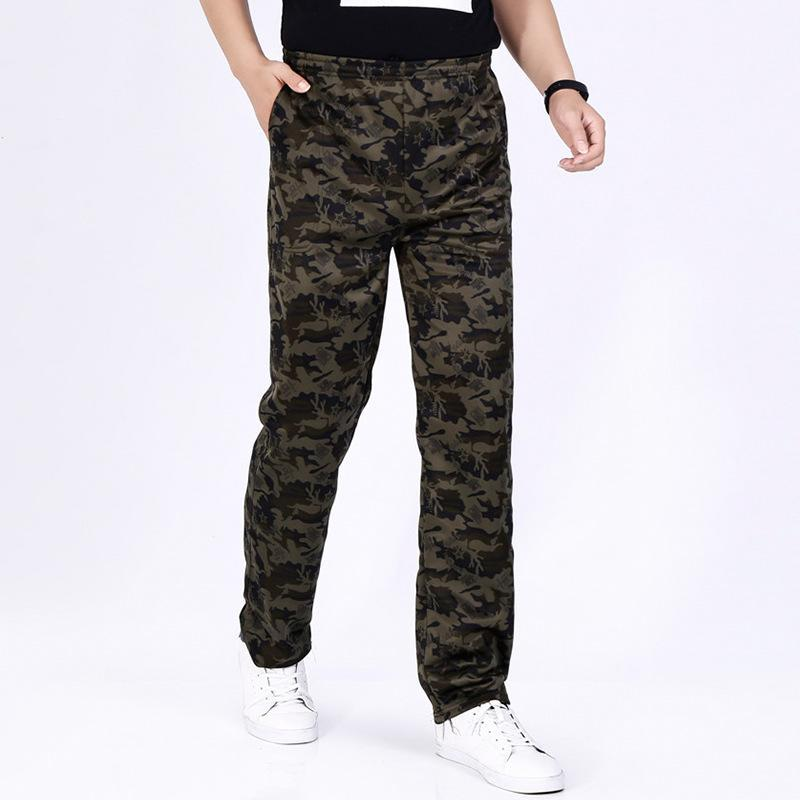 Men's Pants 2021 Camouflage Men Plus Velvet Thickening Cargo Trousers Winter Loose Large Size Elastic Tooling Casual Long