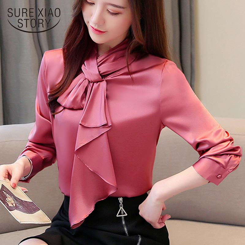 Laço de outono gravata de seda camisa de manga comprida botão sólido camisas senhora camisas mulheres tops e blusas 6442 50 210417