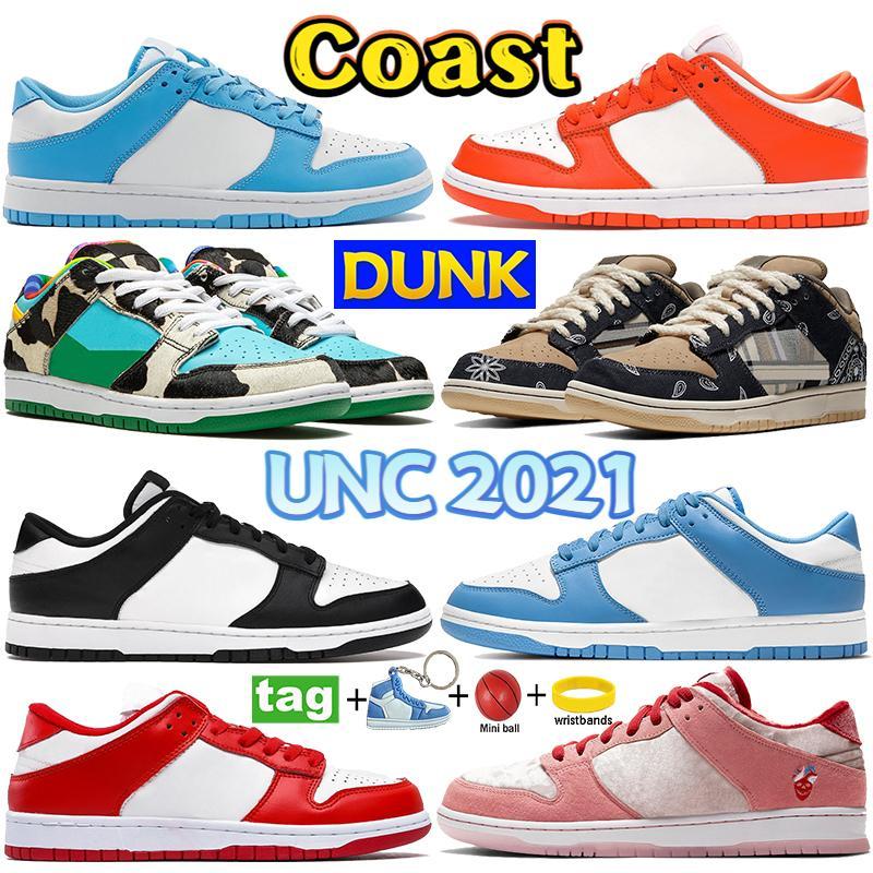 الأزياء دونك عارضة الأحذية ساحل UNC 2021 مكتنزة دانكي أسود أبيض SP Syracuse الرجال أحذية رياضية صبار كنتاكي شادو شارع هوكر النساء المدربين