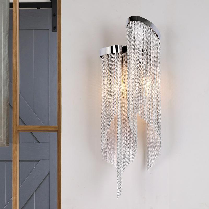 23 * 60cm 크리스탈 펜던트 벽 램프 술 거실 침실 침실 침대 옆에 알루미늄 체인