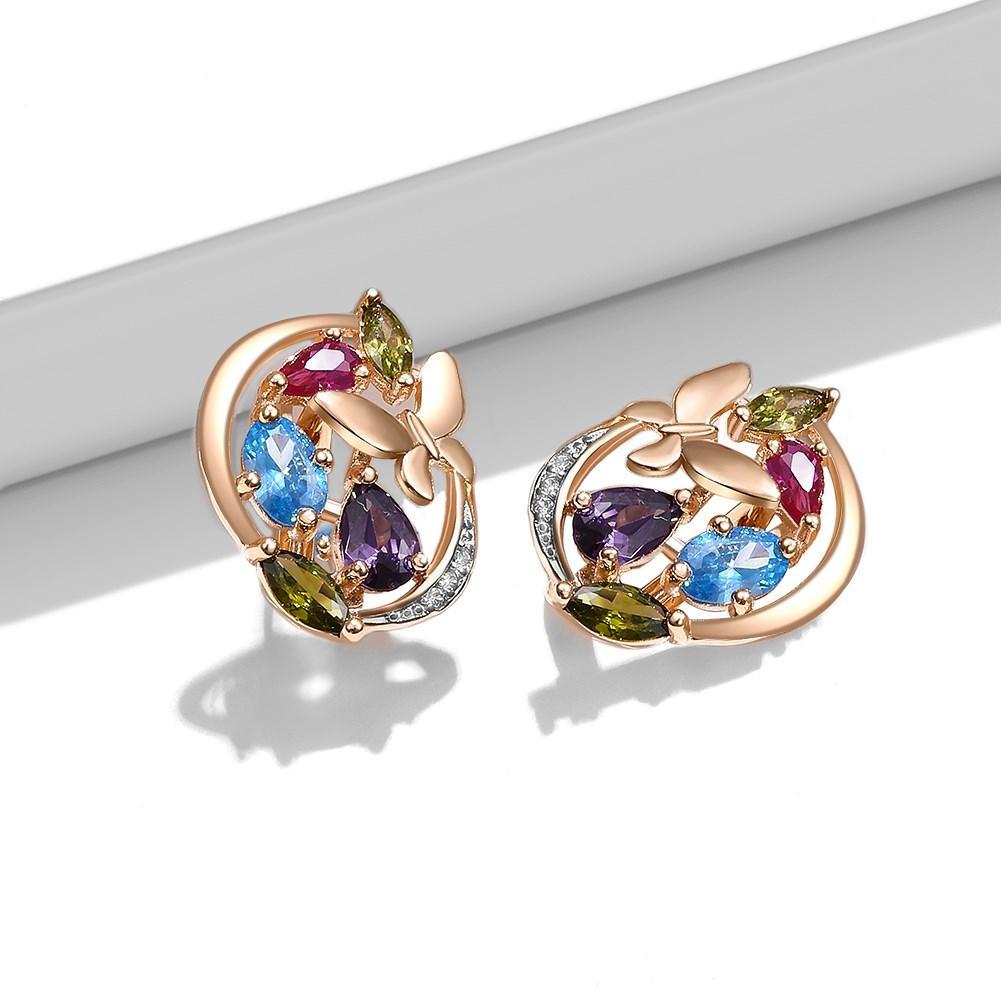 SKMEI Women Copper Four Color Zircon Inlaid Butterfly Studs Earrings 2021 Trend Boucle Oreille Femme Fashion Jewelry KZCE283
