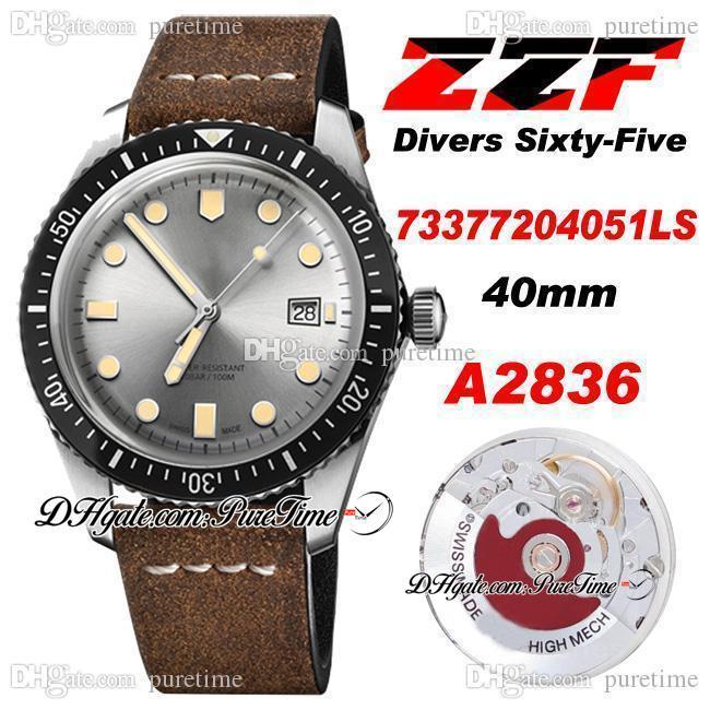 ZZF Dalgıç Altmış Beş A2836 Otomatik Erkek İzle 2021 Gri Dial Kahverengi Deri Kayış Beyaz Çizgi Saatler Super Edition 73377204051LS ETA Puretime