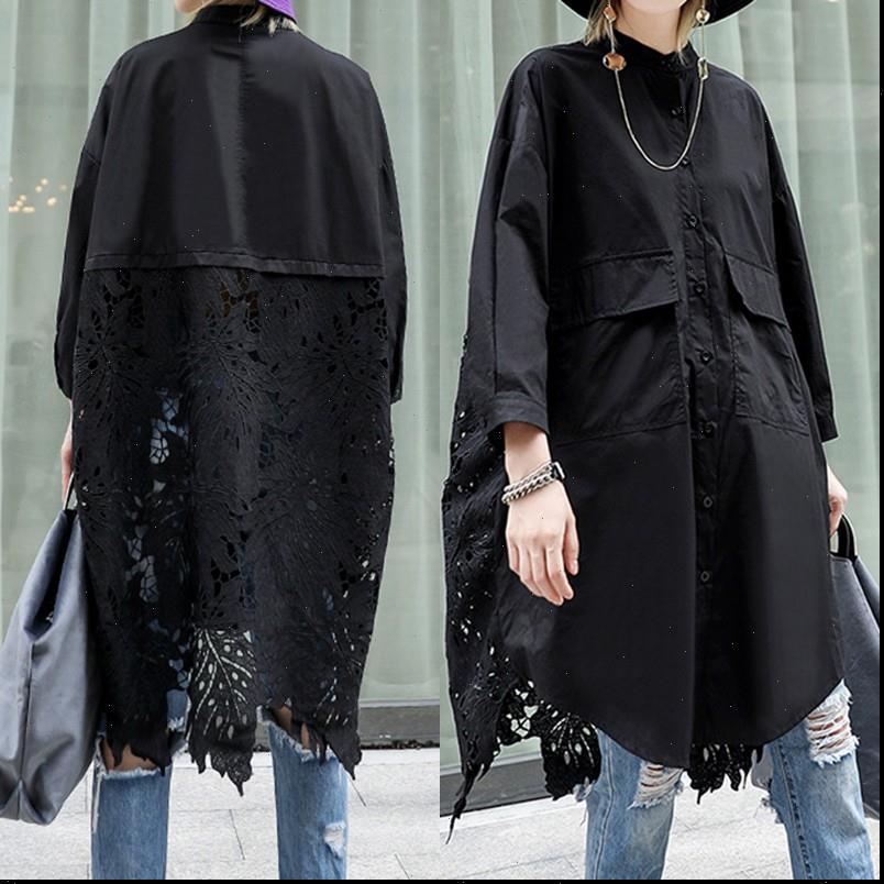 ZANZEA Zarif Bayan Gömlek Dantel Tığ Tops Stiching Bluz Yayı Asimetrik Tunik Kadın Düğme Gömlek Artı Boyutu Solid Top