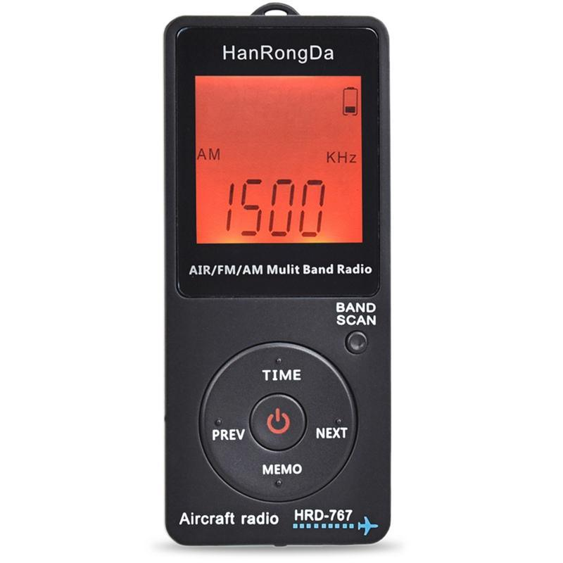 Hanrongda Radio Aircraft Band Receiver FM / AM / AIR World con display LCD Lock Block Pocket Auricolare