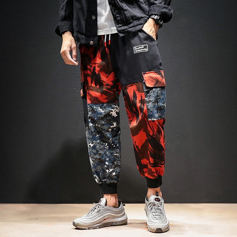 Pantalones Cargo de Bloque Color Para Hombre, Ropa Calle Hip-Hop, Harn, Ankel, Pantalones Largos Camuflaje,