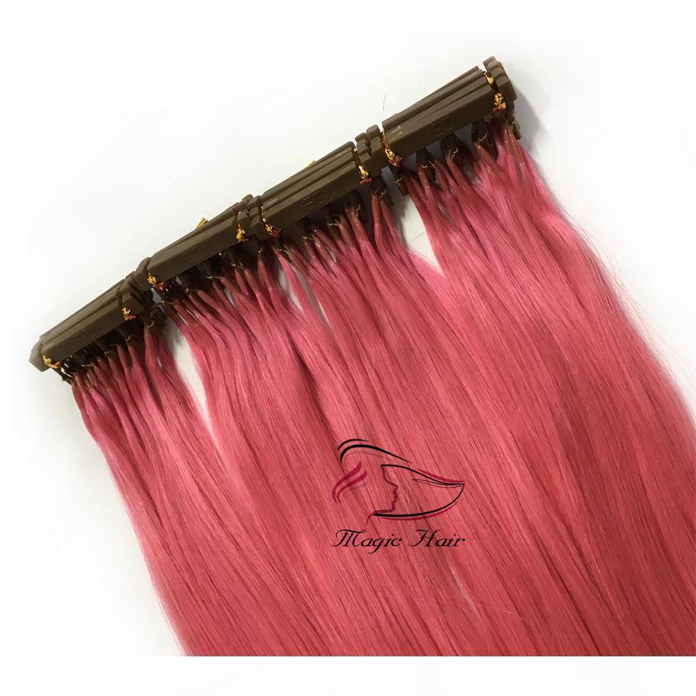 2019 Nuovi prodotti Capelli Second Colore personalizzato Disponibile 6D Estensioni per capelli umani rosa # Evidenzia 50 grammi La borsa può essere disegnata con ferro