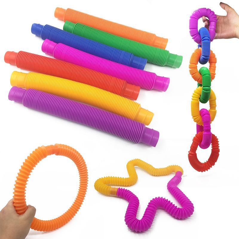 Fidget Toy Poptube Tubos Tubos Tubos Estiramentos Telescópicos Tubos Estresse Stress Descompactação Decompressão Finger Sensory Toys