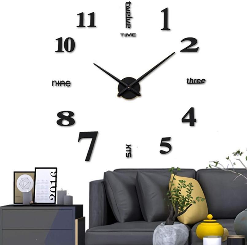 Wall Clock Sticker Klock Mirror Frameless Clocks Kit For Home Decor Orologio Da Parete Saat Zegary