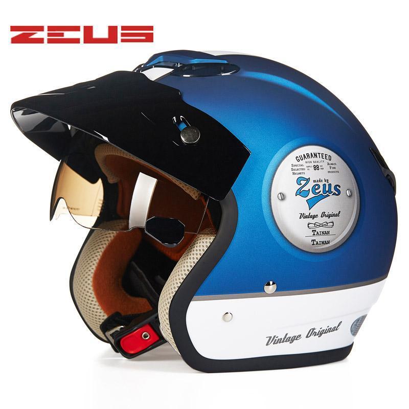 Casques de moto Zeus 3/4 Casque rétro Vintage Casco Moto Scooter Capacete Visage ouvert Dot 381C