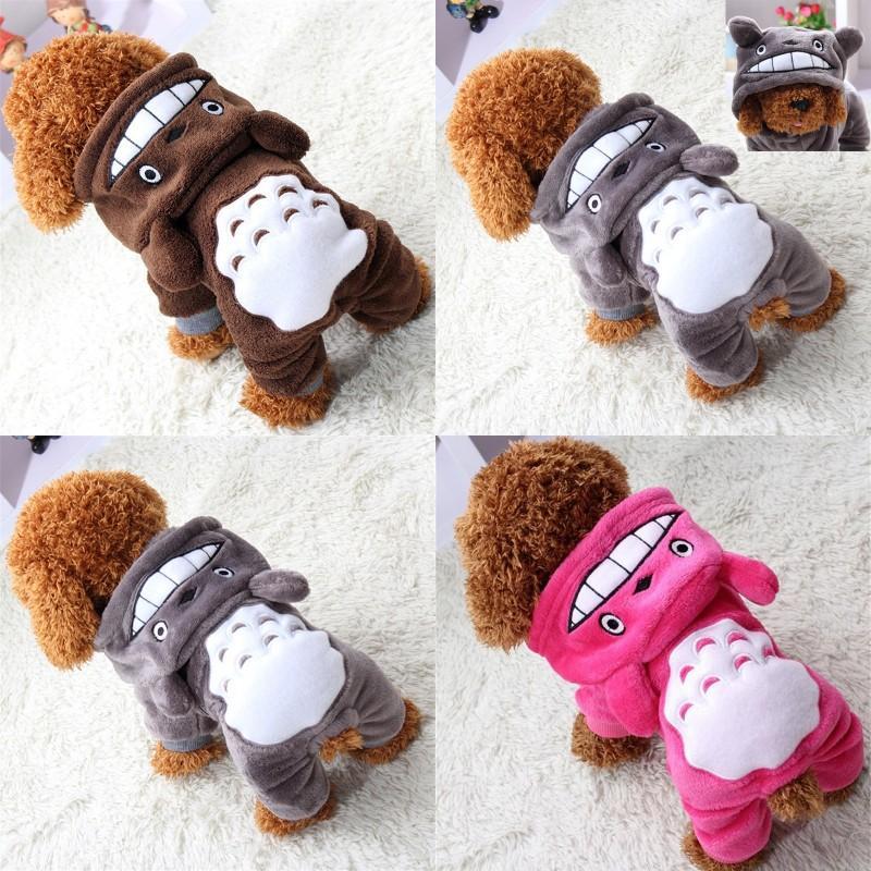 لينة الدافئة الكلب الملابس معطف الحيوانات الأليفة زي الصوف الملابس للكلاب جرو الكرتون الشتاء مقنعين سترة الخريف الملابس XS-XXL 440 V2