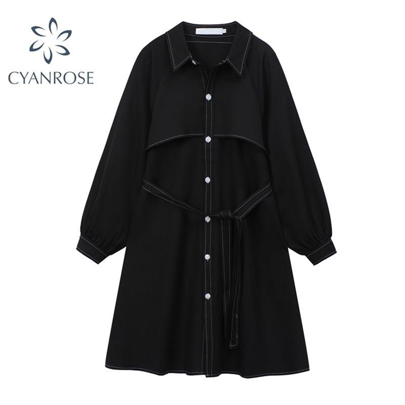 Donne allentati vestito solido collo collo collo casual autunno coreano moda vintage femmina manica lunga elegante signore camicia ufficio abiti 210515
