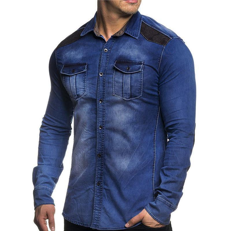 남성용 셔츠 영국 스타일 긴팔 데님 셔츠 남성 패치 워크 코튼 워시 슬림 피트니스 플러스 사이즈 3XL 캐주얼