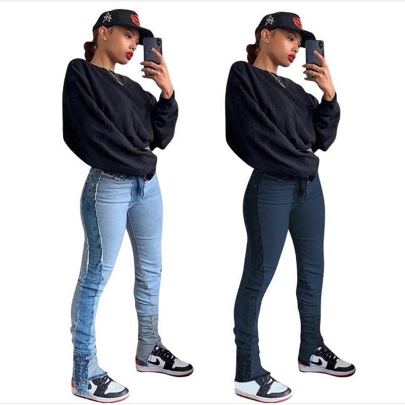 Moda Donna / Girl Mid Vita Acqua Lavaggio Acqua Splicing Do vecchio Jeans Skinny Jeans Hip-Hop Casual Piedi Piedi Matita Pantaloni da cowboy da donna
