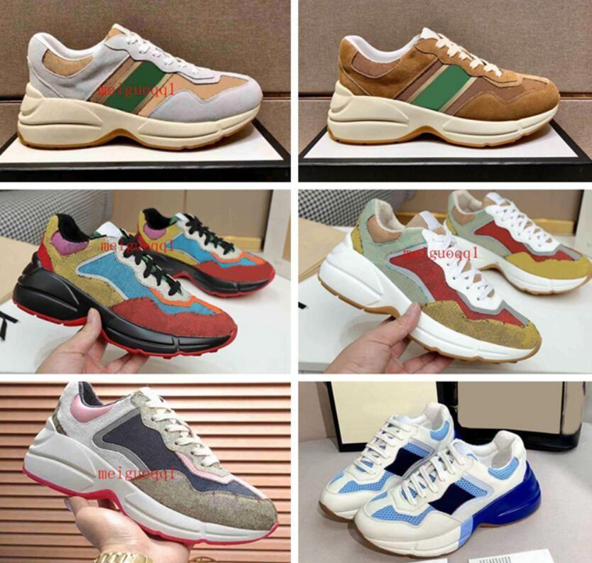 2021 Designer Rhyton Sneakers Schuh Männer Frauen Trainer Vintage Luxus Chaussures Damen Sport Freizeitschuhe Designer Runner Sneaker mit Box Größe 35-46