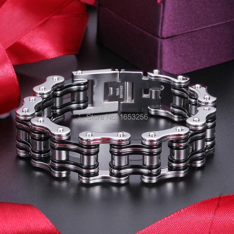 "8.26""x23mm Heavy Cool Black 316L Stainless Steel Mens Motorcycle Bracelet Biker Chain Huge 140g Link,"