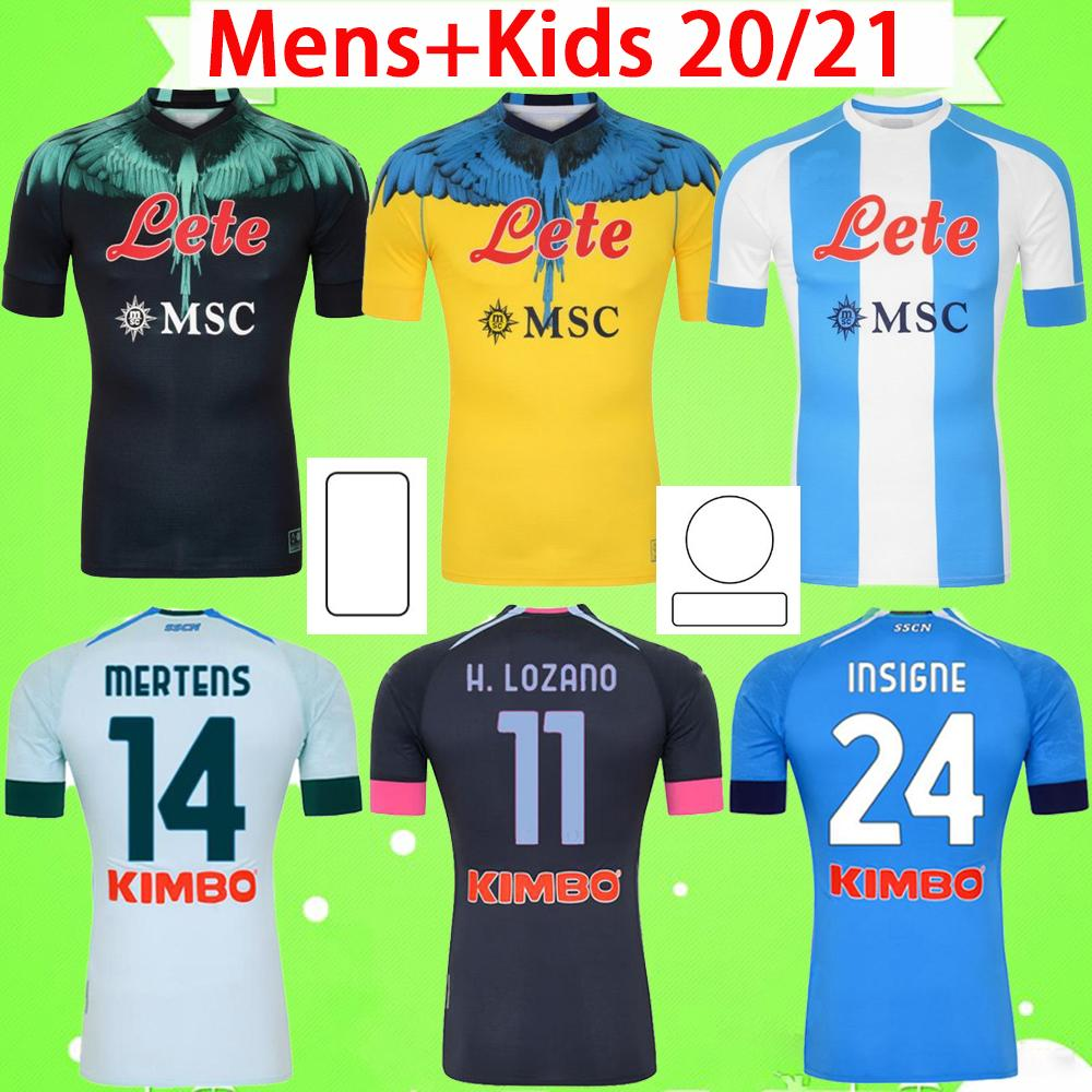 #10 Maradona 2020 2021 Napoli Soccer Jerseys Home Away Third Naples Football Shirt goalkeeper 20 21 MERET MANOLAS INSIGNE LOZANO CALLEJÓN MILIK Mens Kids Kit yellow