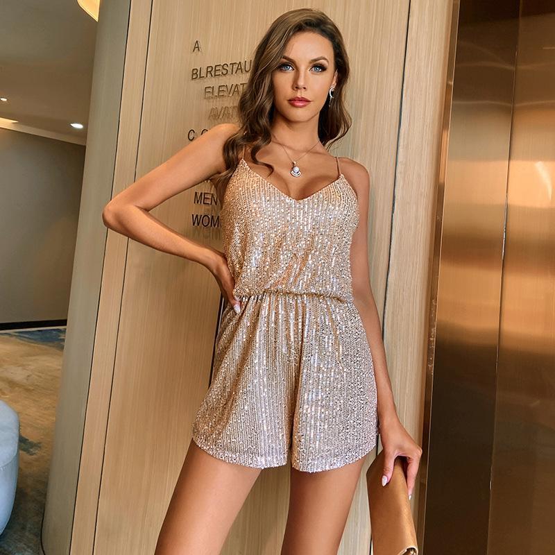 Mode Shorts Frauen Jumpsuit Sexy Hosenträger Pailletten Nähte Einteilige Party Club Nightclub Anzug Jumpsuits Strampler