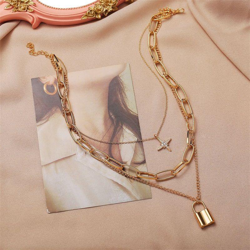 Halskette 2021 Multi-Layer Halsketten Retro Acht Sterne Lock Anhänger Dicke Kette Weibliche Jewlery für Frauen Großhandel Collares 720 Q2
