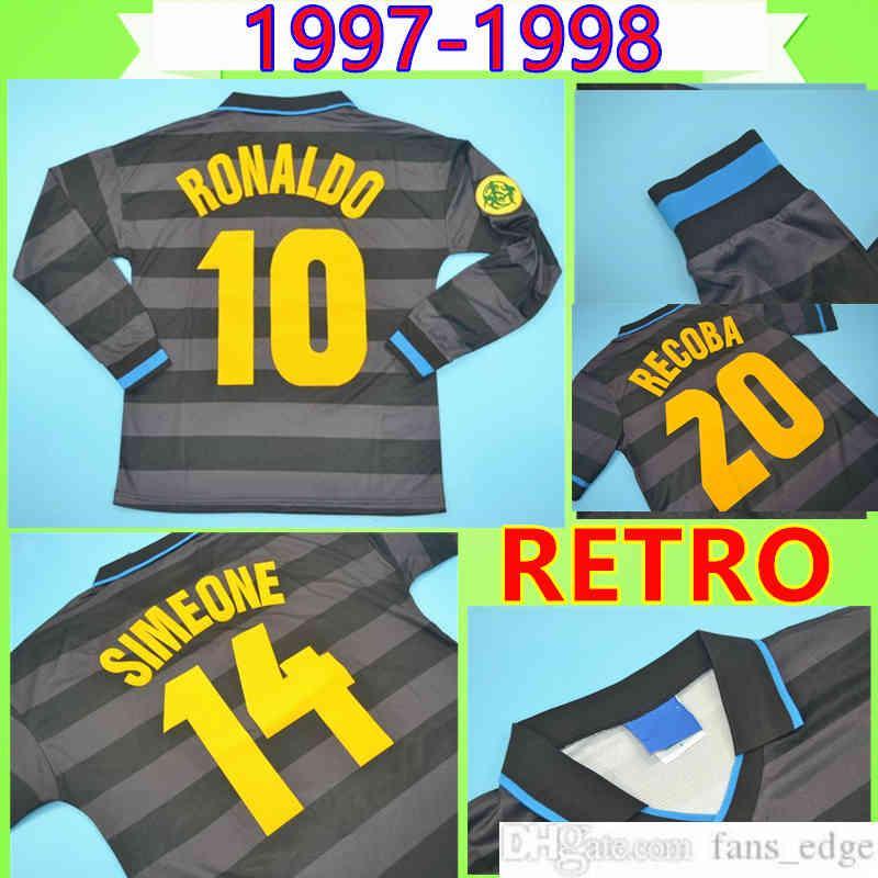 # 10 Ronaldo 1997 1998 Retro Fussball Jersey Zamorano Langarm Fußball Hemd Top Uniform Schwarz 97 98 Klassischer Djorkaeff Simeone Vintage Maglia da Calcio