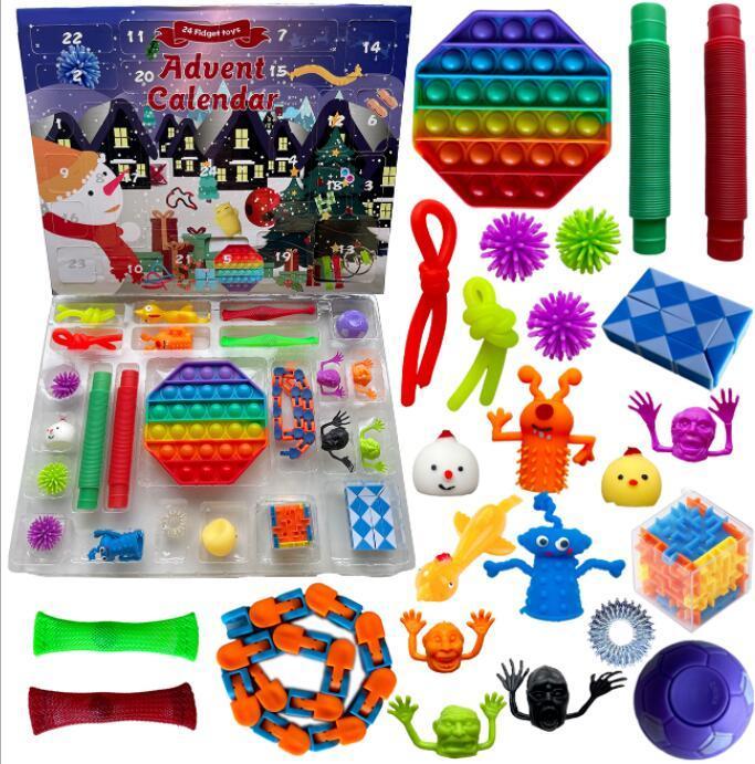 Party Favor 24 pc Definir Christmas Fidget Brinquedos Advento Calendário Caixa Caixa Presentes Decompressão Decompressão Toy Soft Squeeze Lógico Raciocínio Treinamento Presente de Novidade GGA3890