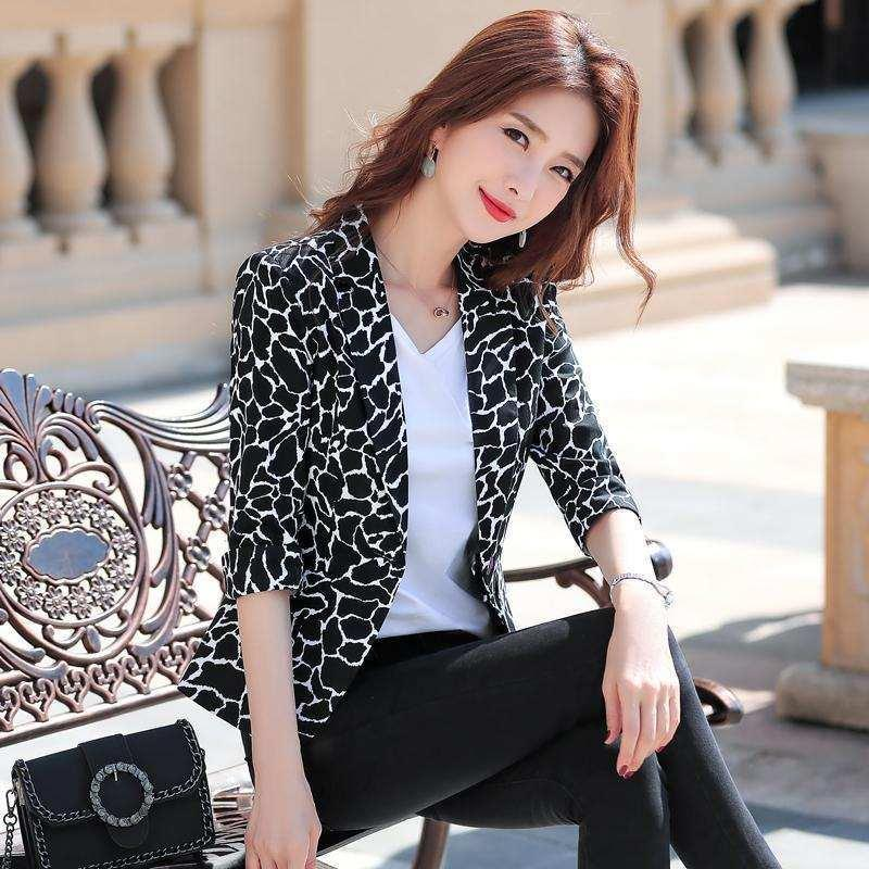 Spring And Autumn Printed Small Suit Ladies Casual Slim Black Jacket Female Coat Fashion Clothing Women's Blazer Suits & Blazers