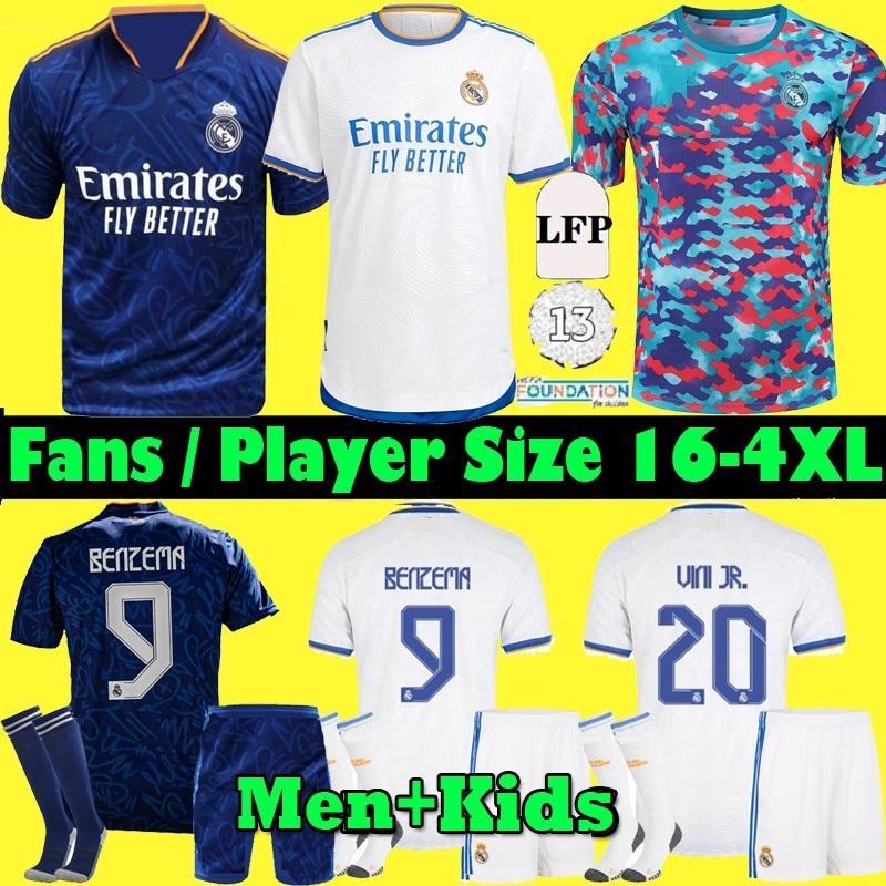 S-4XL 플레이어 팬 리얼 마드리드 유니폼 212 벤제 축구 축구 셔츠 2021 2022 Alaba Hazard Asensio Modric Marcelo ISCO Camiseta Men + Kids Kit