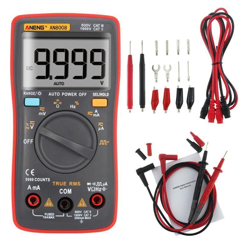 Multímetros AN8008 AN8009 Auto Alcance Multímetro digital 9999 conta com luz de fundo AC / DC Amperímetro Voltímetro Ohm Tester Transistor Multi Meter
