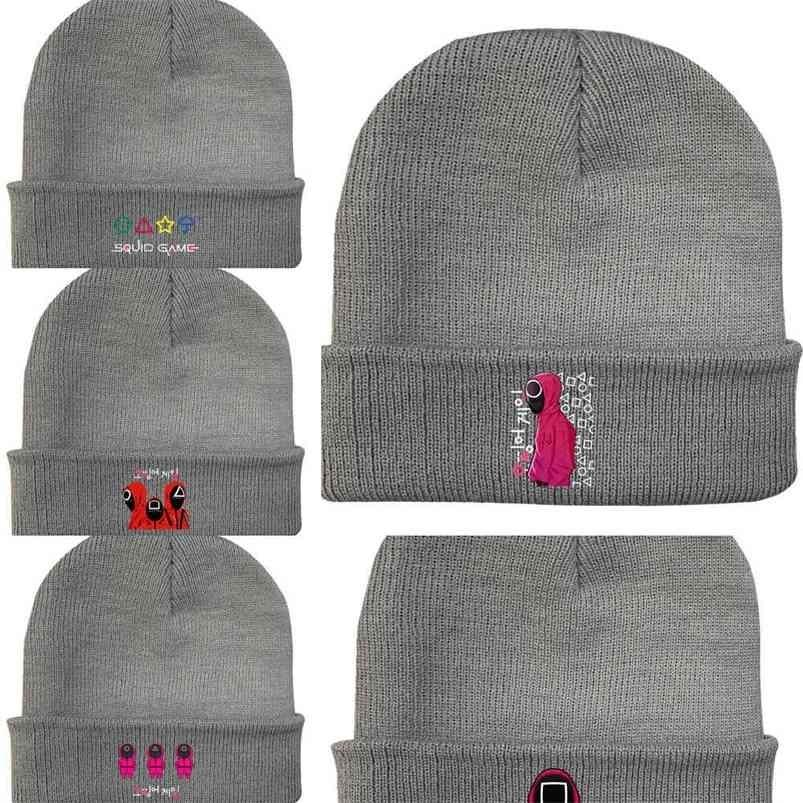 Squid Game Autumn Winter Warm Children's Boys Grils Knitted Hat Printing Elastic Crochet Hats Casual Candy Colors Kids Beanie Skull Caps G01TNUR