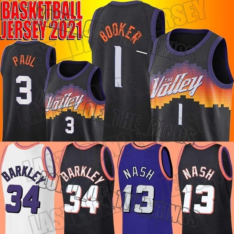 "Basketball Devin 1 Booker Jersey Chris 3 Paul Jerseys Throwback Charles 34 Barkley Steve 13 Nash Phoenix ""Sonnen"" Jersey"