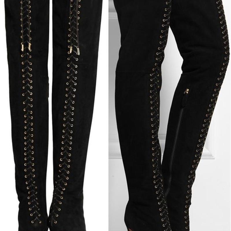 Bota de diseño superior de marca de una sola gamuza negra de espalda de bucle de bucle frontal botas de fijación en las damas de la moda zapatos de tacones altos delgados