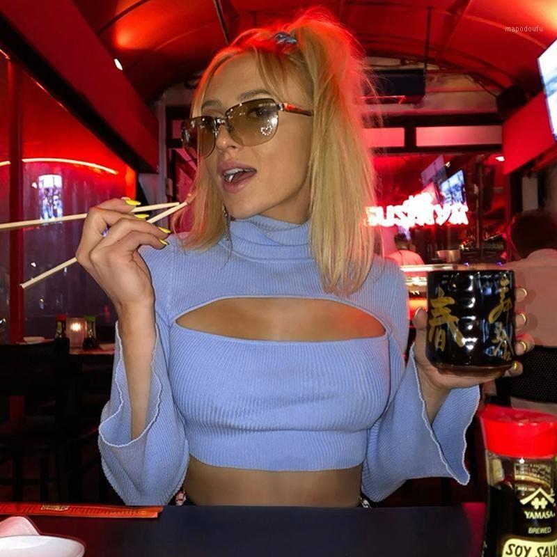 MUNGATHIS BLAUE LOCH GERBARES SHIRT FLARE SLEEVE HIGHT HEST EXTELN SEXY Mode Herbst Neue Elastische Slim Damen Strick T-Shirt1