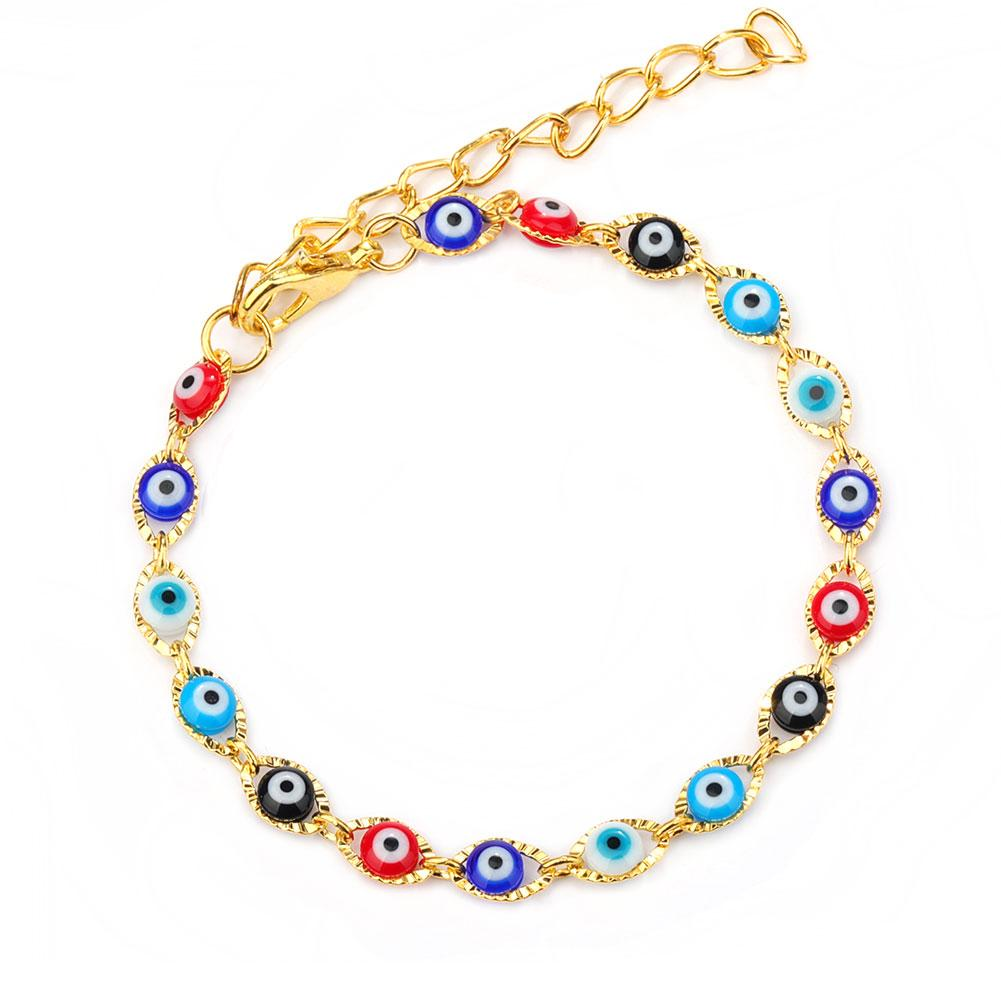 Turkey Evil Blue Eye Bracelet Chain Prayer Jewelry Gold Plated Oval Eyes Charm Bracelets Bangles for Women