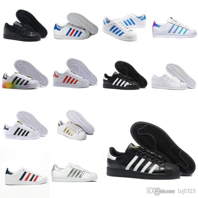 Botas Originales Superestresas Blanco Rojo Oro estrellas Pride Sneakers Supers Star Lady Men Sport Casual Shoes Size 36-44 A1x-1137
