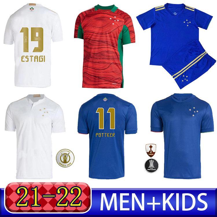 2021 Cruzeiro Esporte Clube 100th Anniversary Soccer Jerseys 21 22 Home Arrascaeta Henrique Fred Dede Football Shirt Uniform Men + Kit Kit