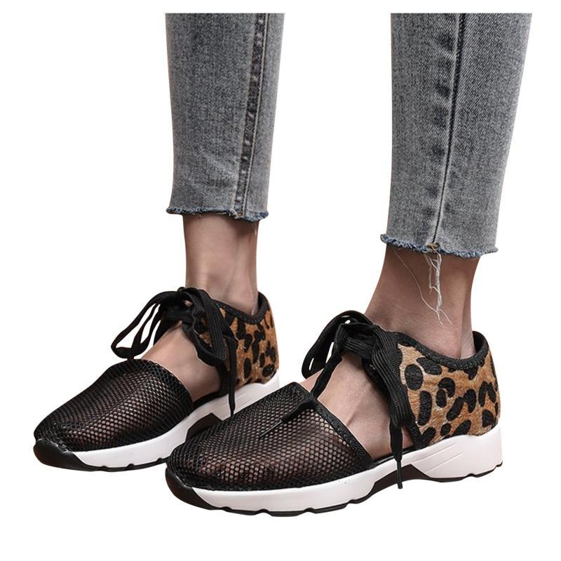الصنادل المرأة شبكة الشقق ليوبارد طباعة الدانتيل متابعة الرياضة عارضة أحذية مريحة أحذية رياضية الجوف خارج تنفس المرأة 2021