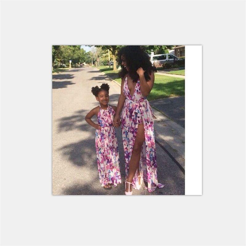 Anne Kızı Elbiseler Aile Eşleştirme Kıyafetler Çiçek Baskı V Yaka Bebek Kız Ve Anne Giyim Mommy ve Me Plaj Sundress 679 Y2