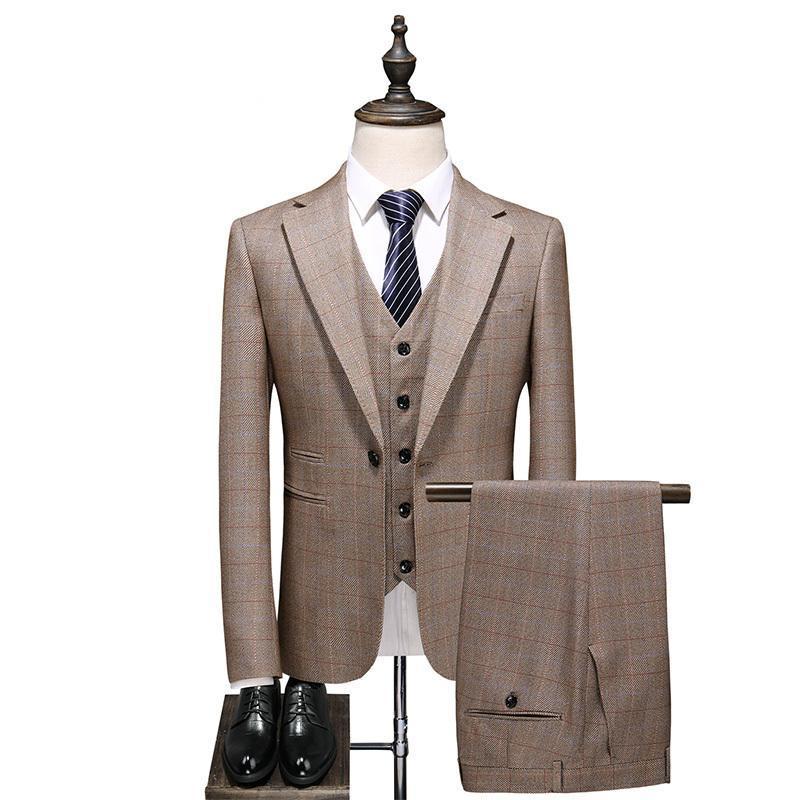 British Mens Mariage Tuxedo Kaki Plaid Costumes Slim Fit Fit Bureau Business Man 3 PCS Blazer Ensemble Formal Party Pal Costume Terno Male Homme Blaz