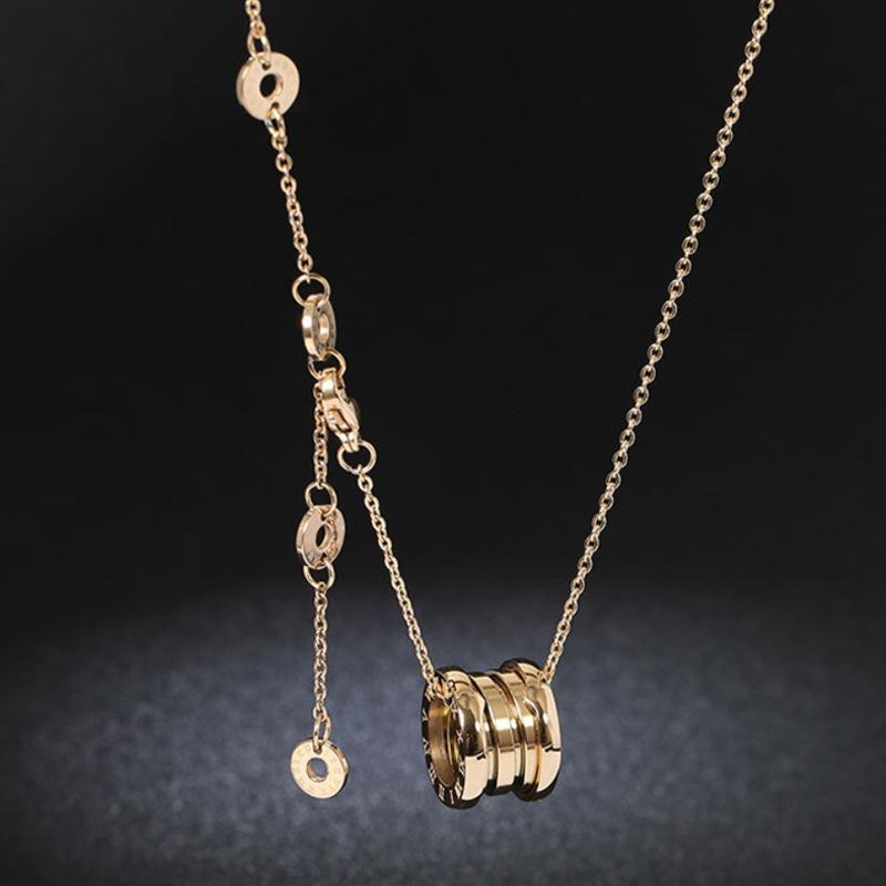 collier titane acier quatre anneau arc arc printemps numérique romaine nelace femelle rose couple clavicule pendentif