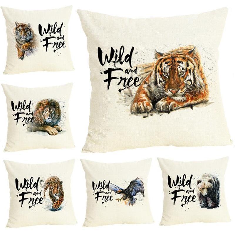 Cushion/Decorative Pillow Animals Style Tiger Printed Cover Linen Decorative Cushion Car Sofa Throw Pillows Home Decoration Case