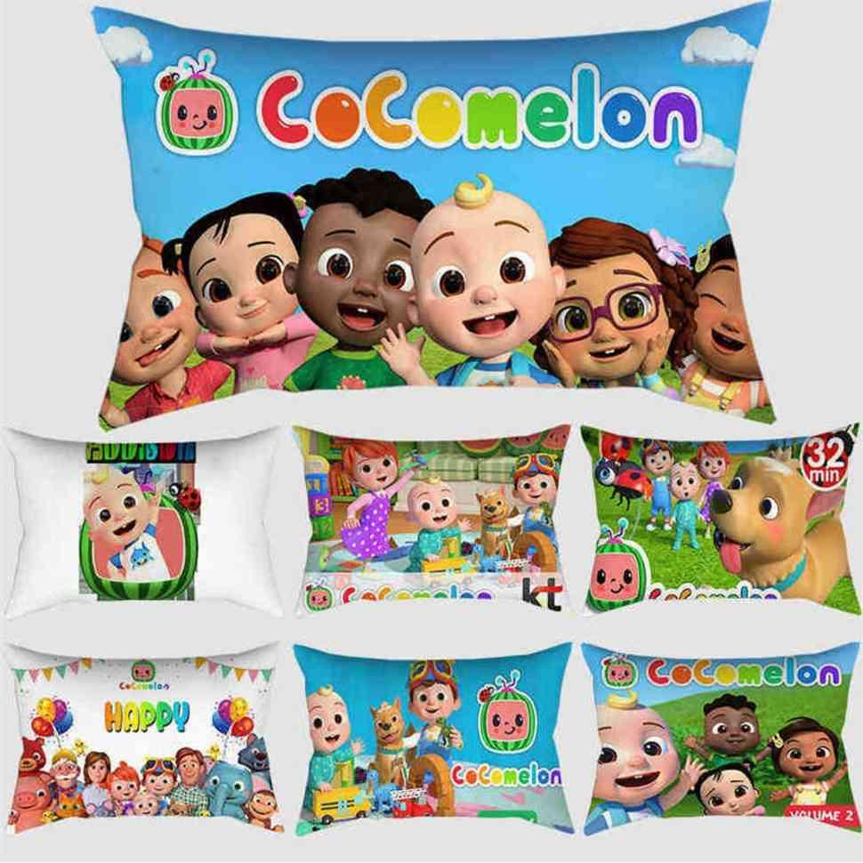 50*30CM tube pillowcase throw cushion covers cartoon cocomelon family friendboy JJ car sofa cushion pillow cases pillowslip kids room decoration ornamentG76120S