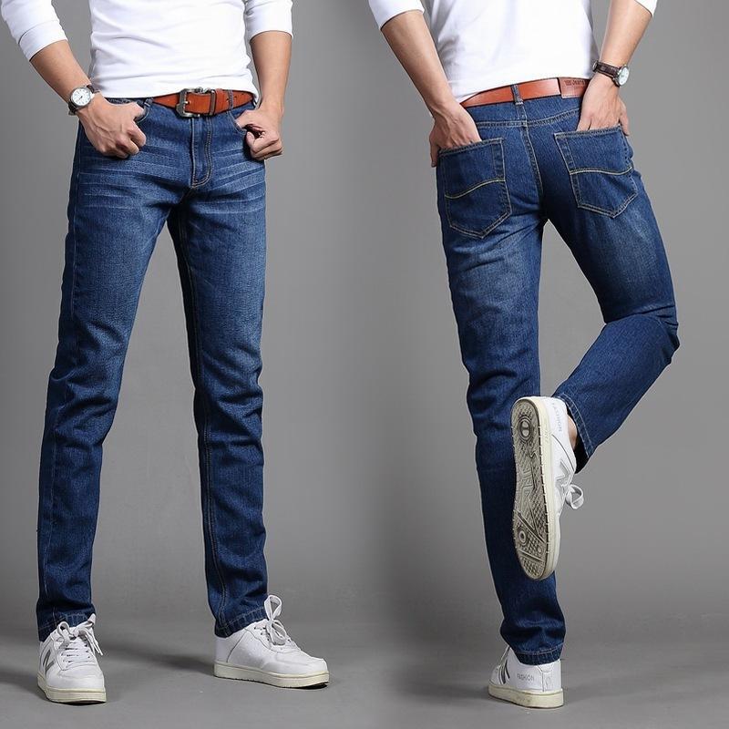 Koreanische Jugend Jeans Trendy Slim Hose Herbst Winter Gerade Casual Herrenhosen