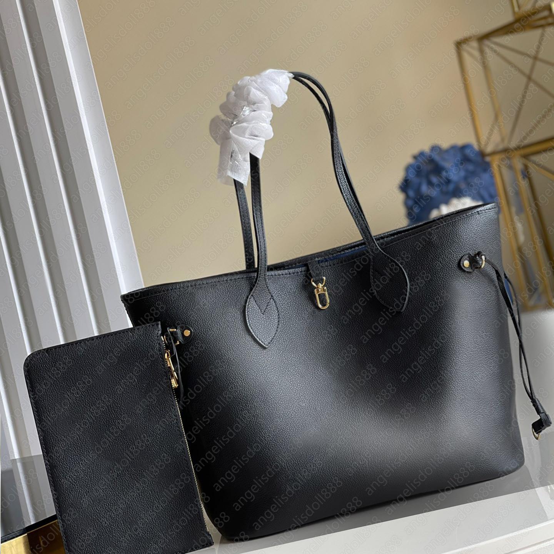 Femmes Noir Lettres en cuir véritable Embossé Sacs Shopping Sacs à provisions avec code de date designeurs de luxe de marque Sac à bandoulière composite