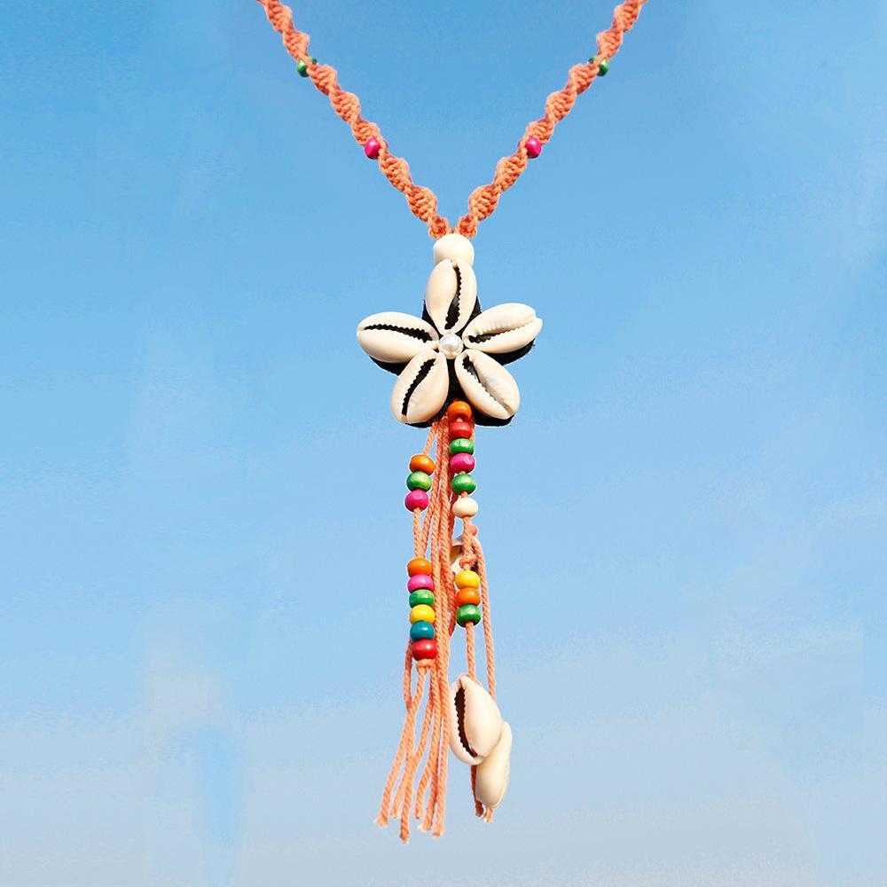 Seilknoten Stricken Handgemachte Halsketten Frauen National Storm Ximia Mi Perle Quaste Conch Shell Halskette