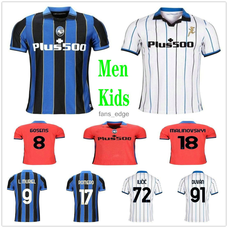 2020 2021 Atalanta B.c. Jerseys de futebol L.Muriel Ilicic Gomez Feule Duvan de Quarto Personalizado 20 21 Adulto Kids Home Away 3ª Camisas de Futebol