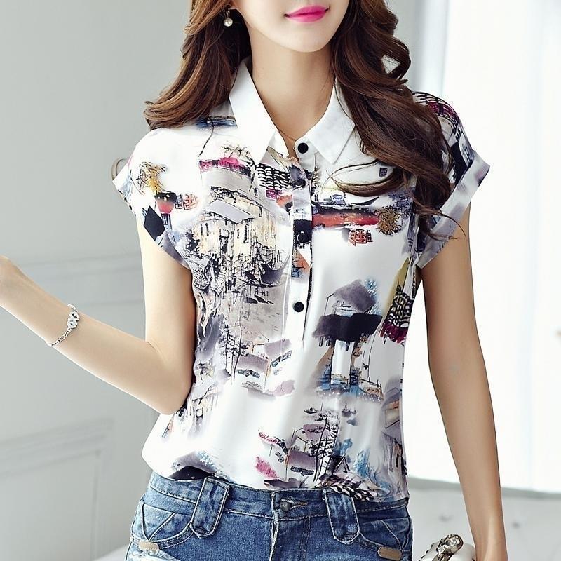 Kadınlar İlkbahar Yaz Tarzı Şifon Bluzlar Gömlek Lady Rahat Kısa Kollu Turn-down Yaka Baskılı Rahat Gevşek DF3548 210402 Tops